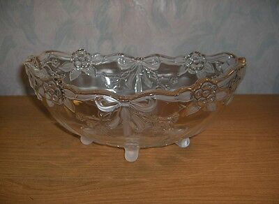 Vnt Mikasa Walther Crystal Footed Oval Bowl Bows Ribbons Roses Flowers W.Germany