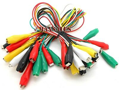 "20PC Multimeter Electrical Multicolor Alligator Clips Test Lead Cables 34"" Long"