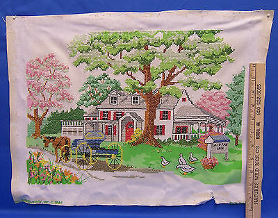 Cross Stitch Needlepoint Completed Embroidery Fairfax Inn Horse Carriage Geese
