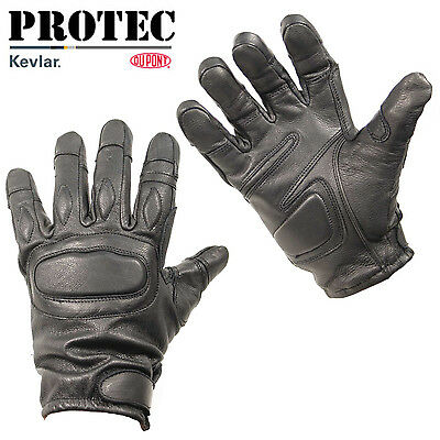 Protec black leather and kevlar police and security tactical entry glove