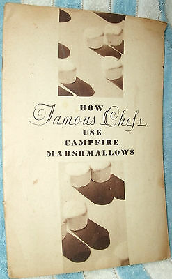 HOW FAMOUS CHEFS USE CAMPFIRE MARSHMALLOWS by ANGELUS-CAMPFIRE CO 1930 PB