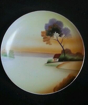 Vintage Meito Japan Porcelain China Hand Painted Scene Plate
