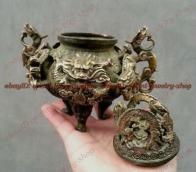 Collection Bronze China lucky 9 dragon Statue incense burner Censer