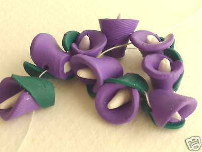 Fimo Clay Easter Lily Flower Loose Beads 8x12mm 1 Doz