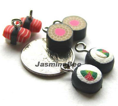 Sushi Polymer Fimo Clay Penadants Earrings Charms Beads 9-10mm*6pcs