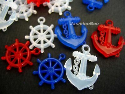 Anchors Helms Nautical Acrylic Plastic Charms Beads 50
