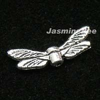 24 Angel Dragonfly Wings Metallic Beads Charms SILVER