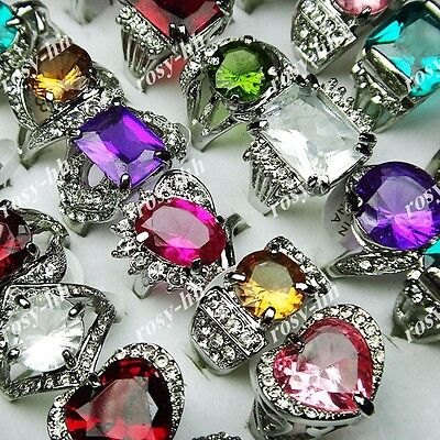15pcs Cubic Zircon Rhinestones Fashion Silver P Mix Rings Wholesale jewelry lots
