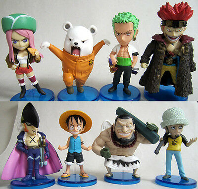 34TH New Set of 8pcs One Piece Luffy Crew Anime Action Figures