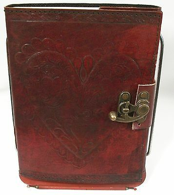 Celtic Heart Leather Embossed Blank Journal  diary hand made paper Lock New