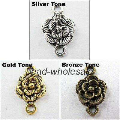 30pcs Tibetan Silver Retro Silver/Golen/Bronze color Flower Charm Connector