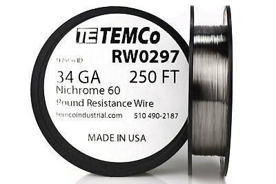 TEMCo Nichrome 60 series wire 34 Gauge 250 Ft Resistance AWG ga
