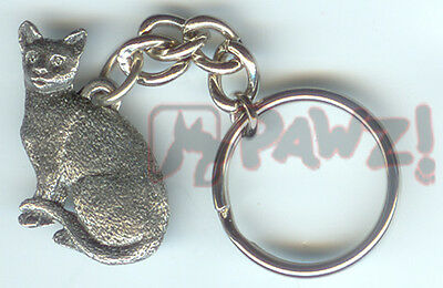 Shorthair CAT Sitting Fine Pewter Keychain Key Chain Ring USA Made