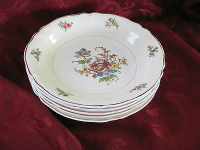 Edwin Knowles set of 5 bowls gold rim 48 3 floral pattern
