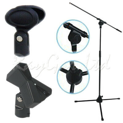 Boom Microphone Mic Stand Professional On Tripod Adjustable Black + 2 Clips New