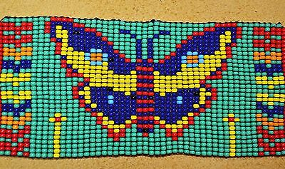 Glass Seed Bead South American Butterfly Loom Work Bracelet, Colombian Beadwork