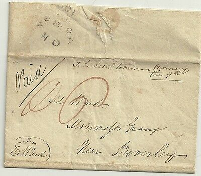 1822  York Circ Postmark - C Scurr? Quaker Style Letter To M Ward In Beverley