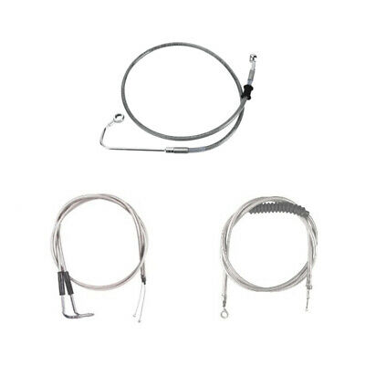 """Stainless +2"""" Cable & Brake Line Bsc Kit 2011-2015 Harley-Davidson Softail w/ABS"""