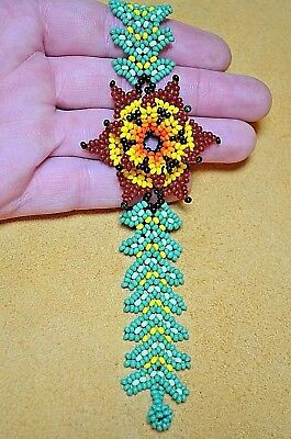 Glass Seed Bead South American Flower Bracelet, Handmade Colombian Beadwork