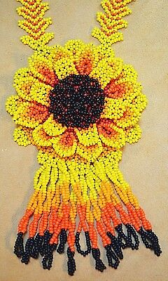 Large Handmade South America Sunflower Glass Bead Necklace, Colombian Beadwork