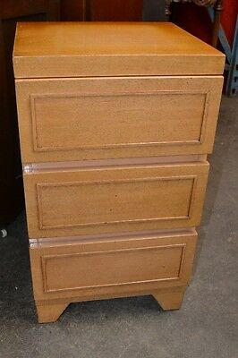 Vintage 1950S 3 Drawer  Blonde Mahogany Nightstand  End Table