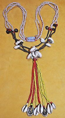 Fulani Tribal Necklace W Brass Bells, Glass Beads & Cowrie Shells
