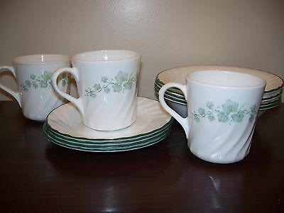 CORELLE CALLAWAY IVY 11 PC BOWLS SAUCERS COFFEE CUPS MUG SET GREEN WHITE VINE