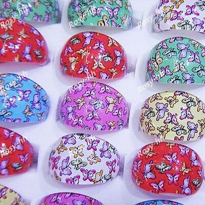 New 25pcs Children Resin Butterfly Rings Wholesale Jewelry Lots Free shipping