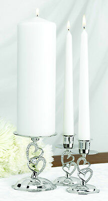 Nickel Plated Sparkling Love Heart Unity Candle Stand Set Wedding Unity Ceremony