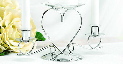 Silver Tone Triple Heart Unity Candle Stand Set Wedding Ceremony