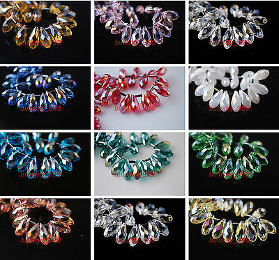10 Charms Faceted Teardrop Pendant Earring Finding Loose Spacer Beads 8x16mm New