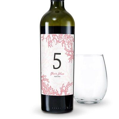 24 Reef Coral Beach Theme Personalized Wine Bottle Wedding Table Number Labels
