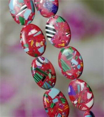 Oval 13x18mm RED Multicolor Turquoise Gem Loose Bead 15''