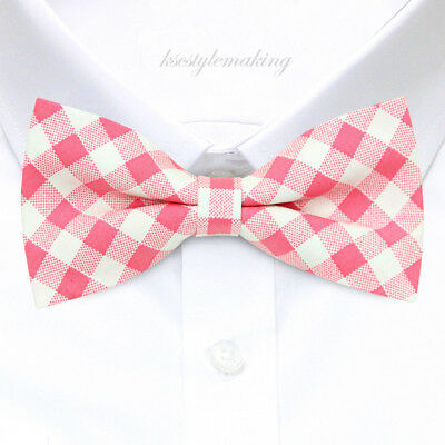 *BRAND NEW* PINK/&WHITE SMALL CHECKED C//P TUXEDO MENS BOW TIE B959