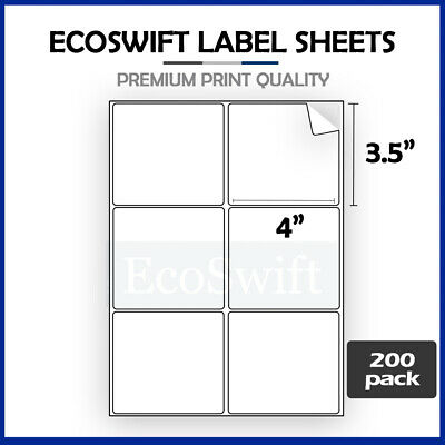 (1200) 4 x 3 1/3 Laser/Ink Address Shipping Self-Adhesive Labels 6 per sheet