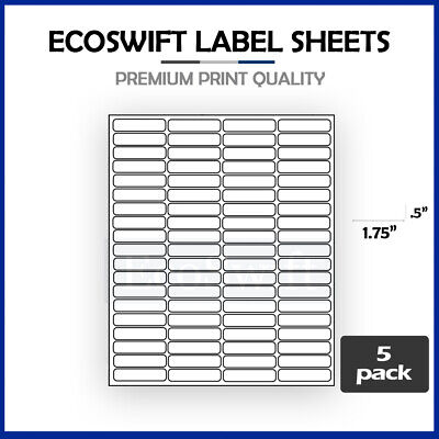 (400) 1.75 x 0.5 Laser Address Shipping Adhesive Labels 80 per sheet 1 3/4 x 1/2