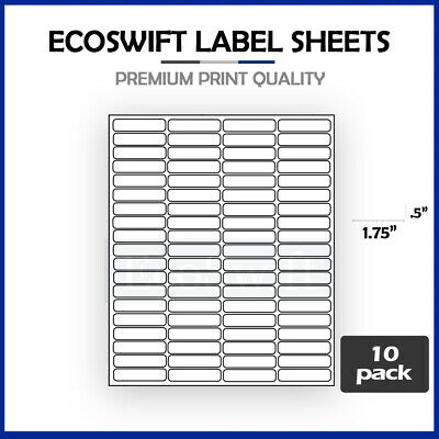 (800) 1.75 x 0.5 Laser Address Shipping Adhesive Labels 80 per sheet 1 3/4 x 1/2