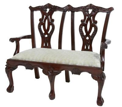 Chippendale Influenced Mahogany Miniature Childs 2 Seat Chair
