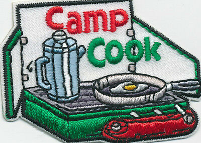 girl boy cub CAMP COOK Cooking Stove Fun patches crests badges SCOUTS GUIDES