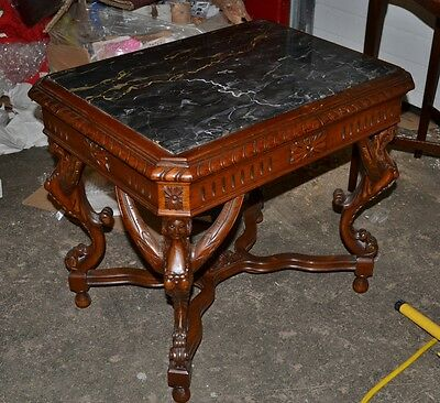 GREAT CARVED WALNUT MARBLE TOP COFFEE TABLE with winged ladys 1930s