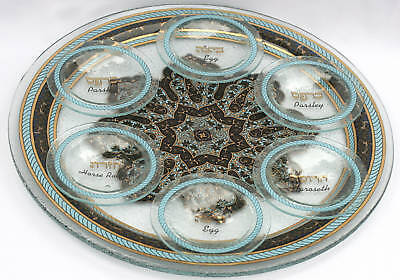 Passover Pesach Seder Plate Dish Tray, Glass w/24K Gold Imprint, Israel Judaica