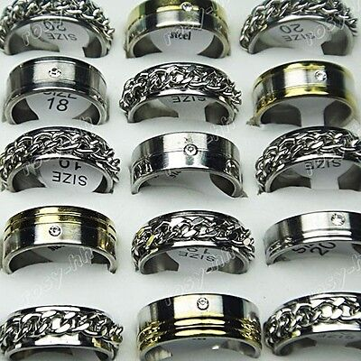20pc Free shipping Wholesale Jewelry Lots Stainless steel Rhinestone chain Rings