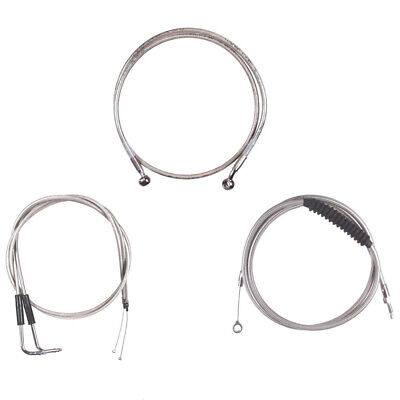 """Stainless +4"""" Cable & Brake Line Bsc Kit 1996-2005 Harley-Davidson Dyna"""