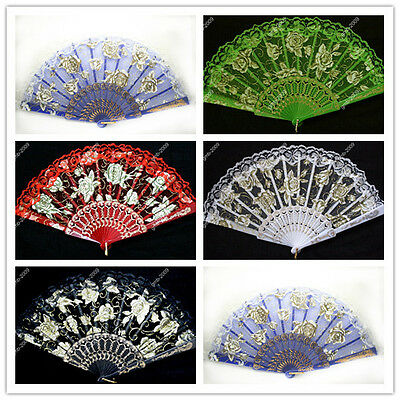 Victorian Lace Embroidered Silk Folding Hand Fan Rose Lady's Vintage Accessories