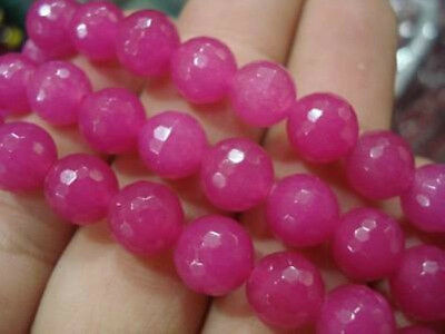 """8mm Faceted AAA+++ Natural Red Rose Ruby Round Gemstones Loose Beads 15"""" ##ZY070"""