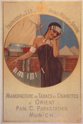 TOBACCO & CIGARETTES vintage ad poster N. GYSIS GERMANY 1897 24X36 RARE HOT