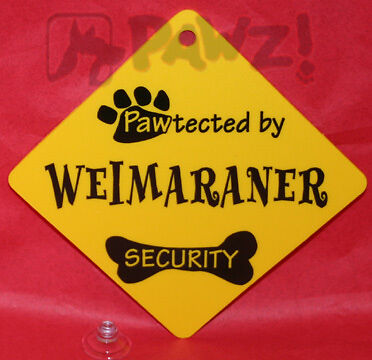 Pawtected by WEIMARANER Dog Security Car Window SIGN