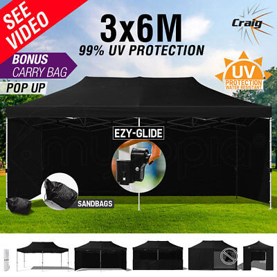 NEW Craig 3x6m Outdoor Gazebo Folding Marquee Shade Tent Canopy Pop Up Black