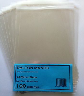 A4 Cello Bags Cellophane Self Seal High Quality Crystal Clear -Multi  Listing *