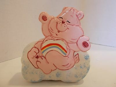 Vintage Care Bear Cheer Pink Bank Rainbow Piggy Coin Cloud No STOPPER Ceramic